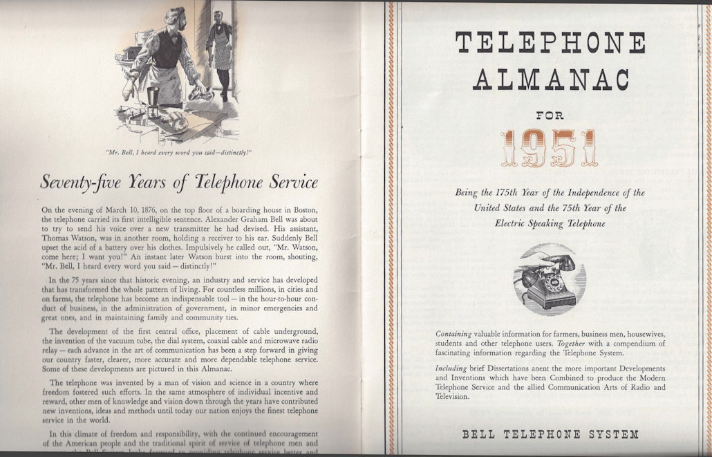 Bell Telephone Almanac for                                         1951, 75th Anniversary - 1876 to                                         1951;