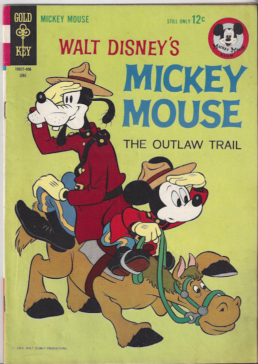 """Walt Disney's Mickey Mouse                                         (June 1964) - #94 """"The                                         Outlaw Trail"""" Gold Key"""