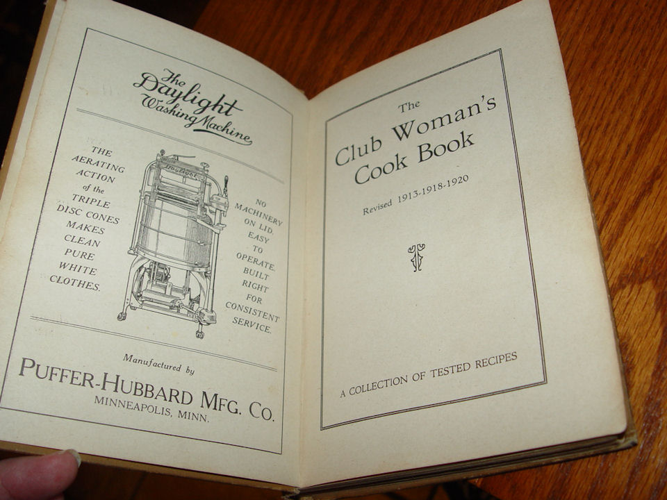 Club Woman's Cookbook                                         vintage Cook Book 1920 Mrs Thos                                         Quinby 4th ed Advertising                                         Recipes