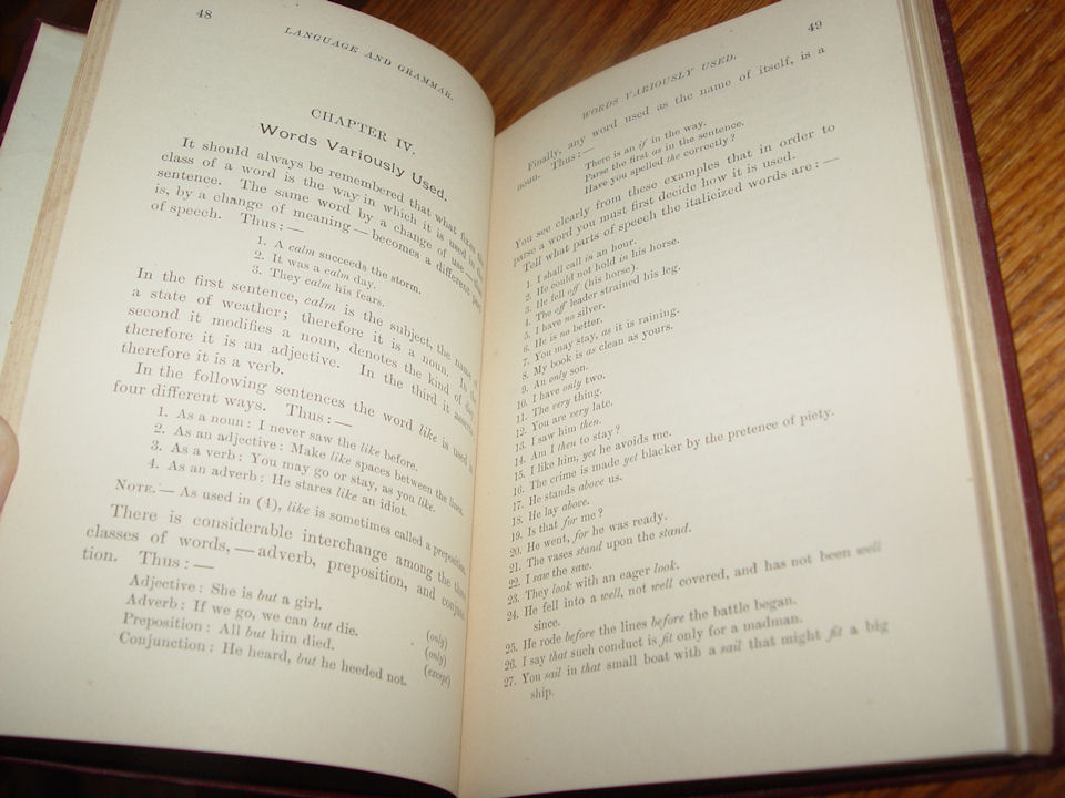 "The Elements of Language                                         and Grammar. A Practical Course                                         for Use in Intermediate,                                         Ungraded, and Grammar Schools.                                         Based Upon Welsh's ""First                                         Lessons in English"" 1896"