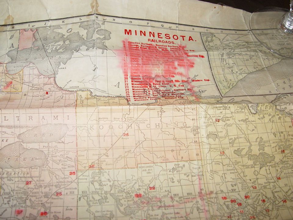 1908 Rand McNally Engravers                                         Canvas Railroad Map for                                         Minnesota, Showing Location of                                         all Railroad Stations