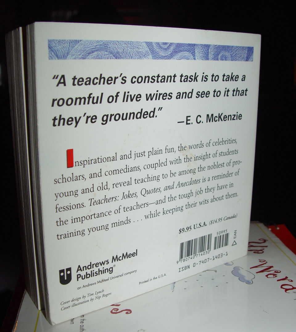 Teachers Jokes                                         Quotes And Anecdotes Paperback –                                         2001 by Stark Book