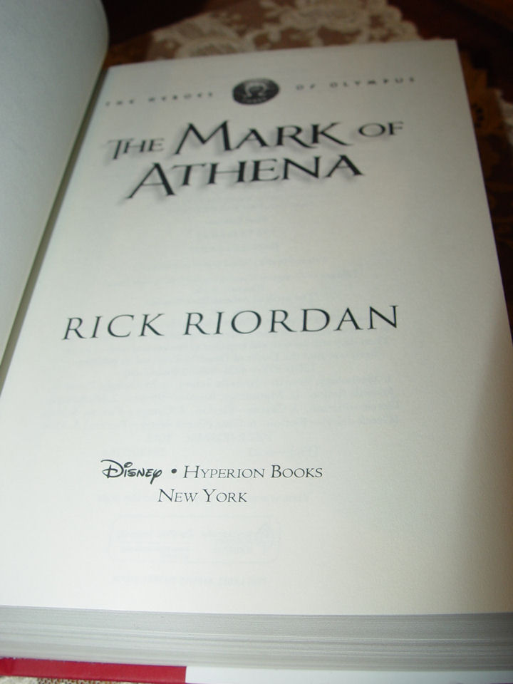 The Mark of Athena                                         (The Heroes of Olympus, Book                                         Three), Rick Riordan Disney                                         Electronic Content, 2012